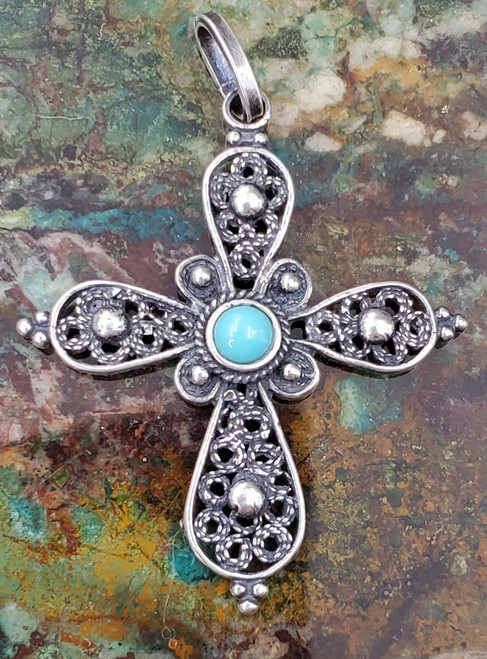 Turquoise Filigree Bali Sterling Silver Cross Pendant Medium