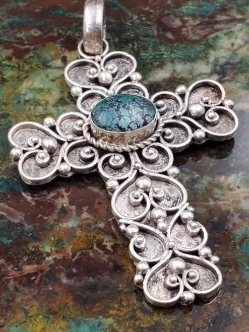 Bali Sterling Silver Serpentine Ornate Pebbled Scroll Vintage Cross Pendant Necklace Large