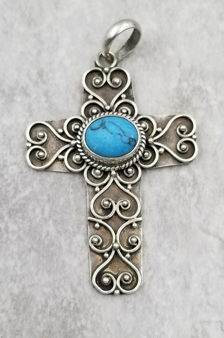 Bali Sterling Silver Ornate Pebbled Scroll Turquoise Howlite Vintage Cross Pendant Necklace Large
