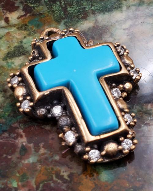 Turquoise Sterling Silver Bronze CZ Cross Pendant Necklace Medium
