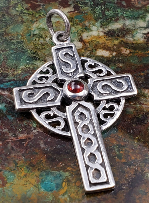 Celtic Sterling Silver Garnet Cross Pendant Necklace Medium