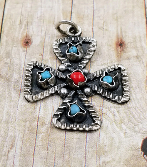 Southwestern Sterling Silver Turquoise Red Coral Handcrafted Cross Pendant