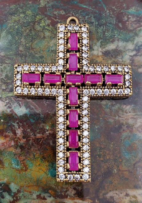 Ruby CZ Sterling Silver Cross Pendant Turkish Large