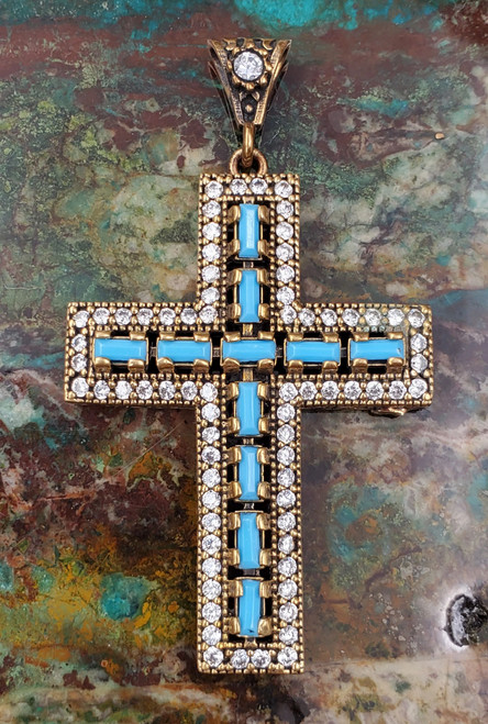 Turquoise 925 Sterling Silver Cross Pendant Turkish Large