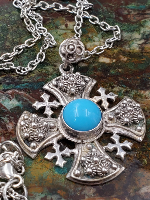 Crusaiders Bali Turquoise Sterling Silver Cross Pendant