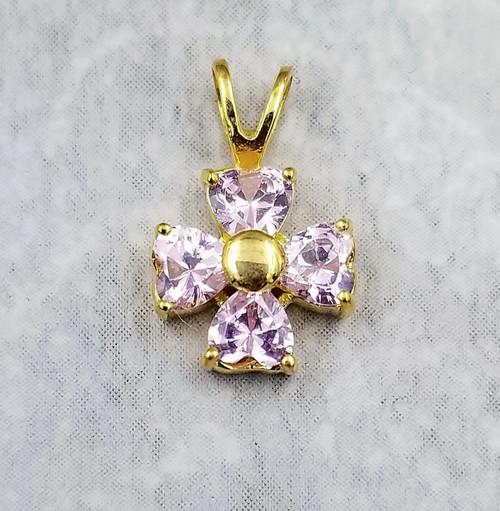 Pink Quartz Princess cut Gold over Sterling Silver Tiny Flower Cross Pendant