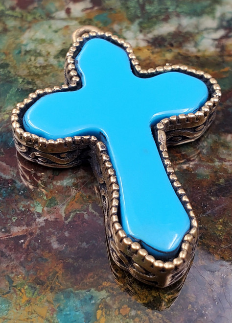 Sterling Silver Turquoise Two tone Cross Necklace Pendant Turkish Med