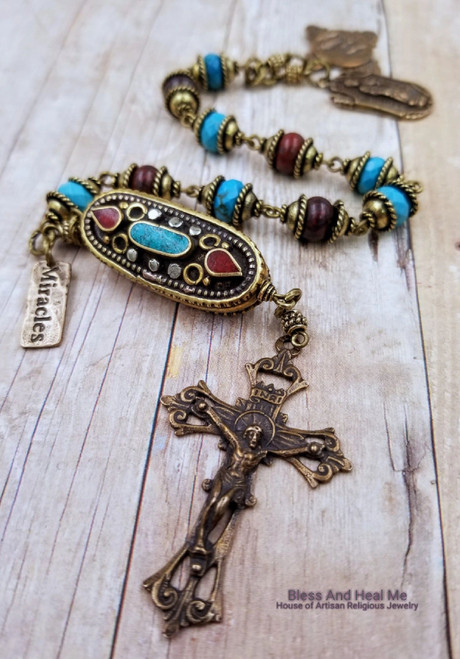St Jude Lourdes Turquoise Red Jasper Bronze Gemstone One Decade Rosary Chaplet bodily injuries protection,healing,stress,positivity,miracles