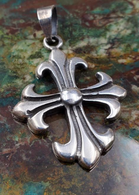 Mexico Sterling Silver Contemporary Cross Necklace Pendant Medium-1
