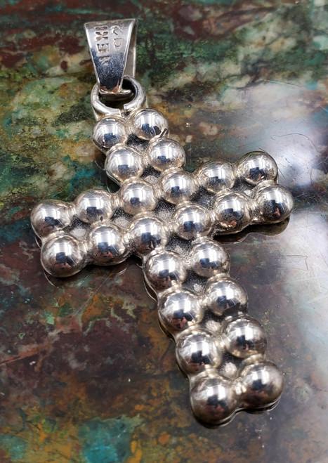 Mexico Sterling Silver Bumpy Contemporary Cross Necklace Pendant Medium-1