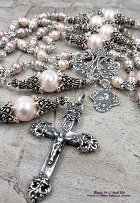 Ave Maria Mary Jesus Chalice Pink Pearls Sterling pltd Ornate Rosary Femininity,Purity,Prosperity,Love,Happiness,Good luck,Balance,Wedding