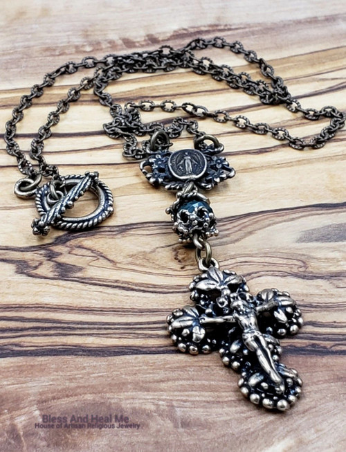 Antique Style Natural Emerald Ornate Solid Bronze Crucifix Necklace Pendant Love,Joy,Faith,Abundance,loyalty,May birthstone