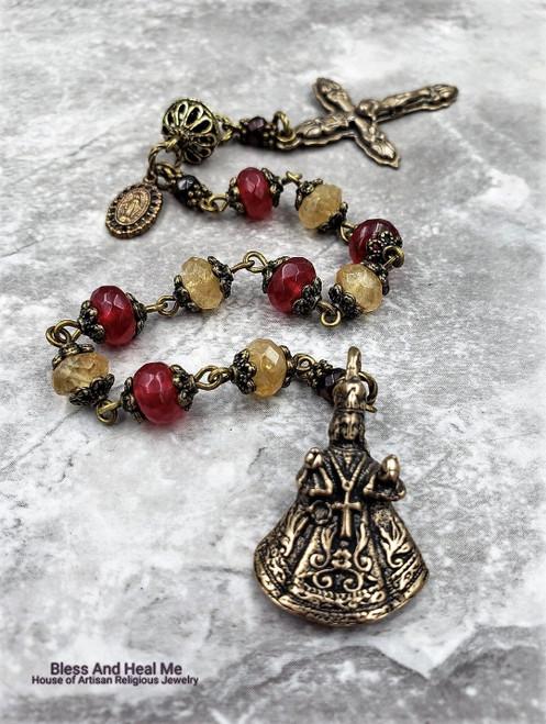 Bronze Infant of Prague Citrine Red Jade Gemstone 1 decade Rosary Chaplet happiness,joy,longevity,abundance,good luck,prosperity