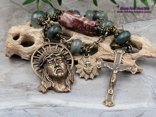 Bronze Ecce Homo Face of Jesus Sacred Heart Bloodstone Red Jasper Gemstone Rosary Tenner for peace,protection,stress,courage.