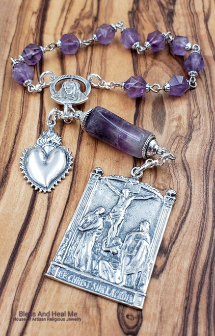 Crucifixion Sacred Flaming heart Sorrowful Mother Sterling Amethyst 1 decade rosary chaplet protection,health,joy,spiritual communication