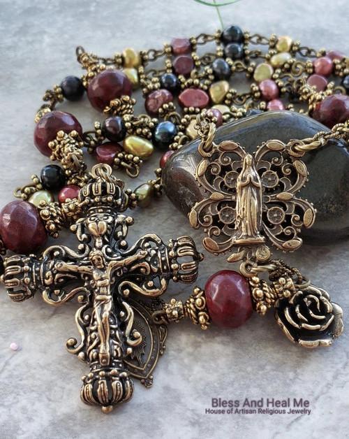 Virgin Mary Sacred Heart Multicolor Pearls Red Jasper Ornate Filigree Antique Style Bronze Rosary Love Joy Protection Loyalty Prosperity