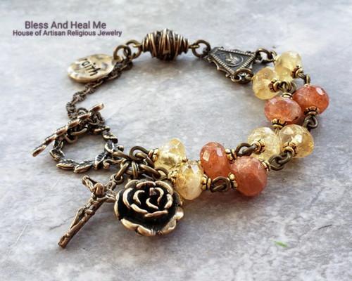 Virgin Mary Jesus Citrine Sunstone Bronze Gemstone Catholic Christian Rosary Bracelet Chaplet for Joy,Happiness,Vitality,Love,Loyalty.