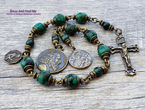Devotional St Jude Perpetual help Lord of Miracles Turquoise Bronze Antique Style Rosary Chaplet Sickness Protection Impossible causes
