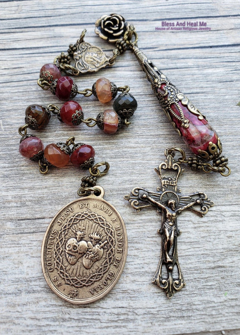 Tween Hearts Sacred Immaculate Holy Sacraments Virgin Mary Agate Bronze One Decade Antique Style Rosary Chaplet Joy Protection Vitality