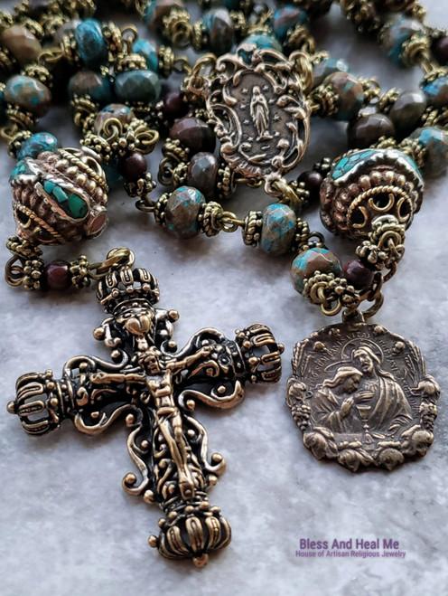 Bronze Jesus Embrace Holy Sacrament Lourdes Heirloom Ornate Filigree Turquoise Rosary for protection healing stress harmony
