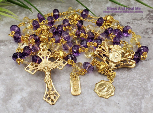 Blessed Virgin Mary Sacred Heart of Jesus Assumption Amethyst Citrine 22k Gold Plated Vermeil Rosary Health Joy Protection Happiness