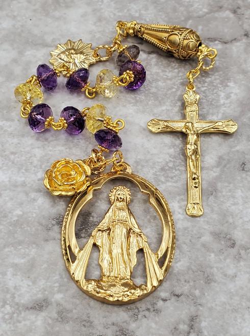 Our Lady of Grace Miraculous Sacred Heart 22k gold pltd Vermeil Amethyst Citrine Rosary Chaplet Health Joy Happiness Spiritual communication