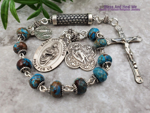 St Raphael Jude Lourdes Turquoise Sterling Silver 1 decade rosary chaplet danger & Illnesses protection,health, impossible causes balance.