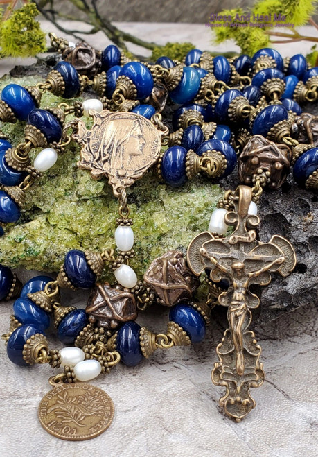 Virgin Mary Peace to All Blue Agate Pearls Bronze Antique Style Rosary Vitality Protection Joy Loyalty Love Good Luck Serenity Wealth