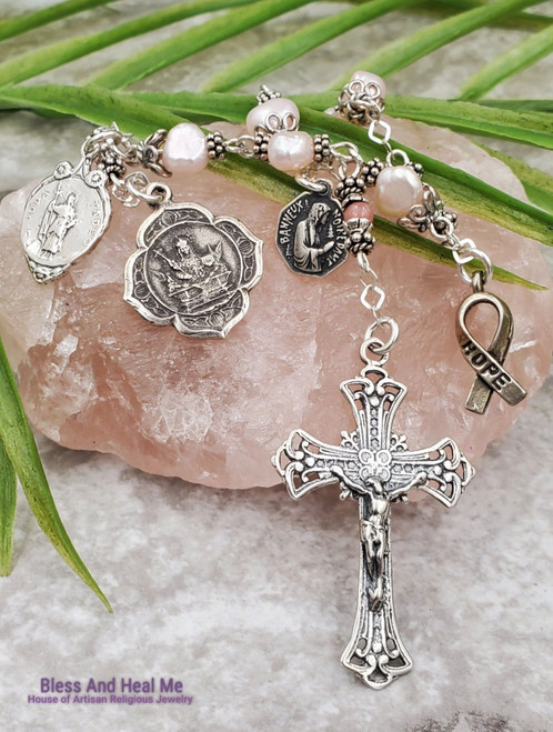 Devotional St Agatha St Jude Lord of Miracles Breast Cancer Pink pearls Rhodonite Sterling Rosary Chaplet Impossible causes Love Happiness