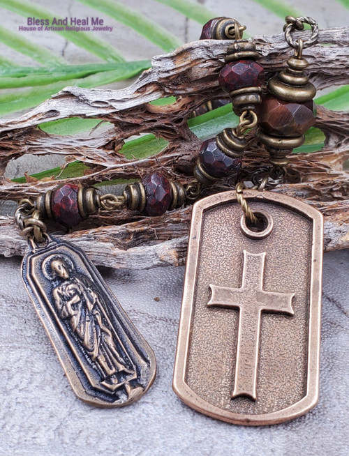St Jude Holy Spirit Red Jasper Tiger Eye Bronze Gemstone Man One Decade Rosary Chaplet impossible causes protection good luck stress