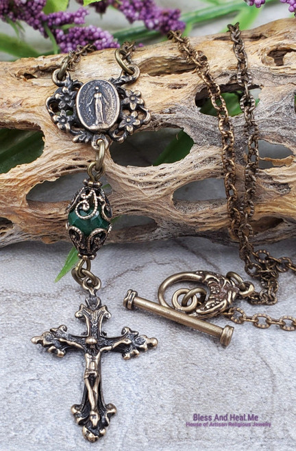 Emerald Miraculous Mary Bronze Ornate Antique Style Necklace Pendant Joy Love Hope Loyalty May birthstone