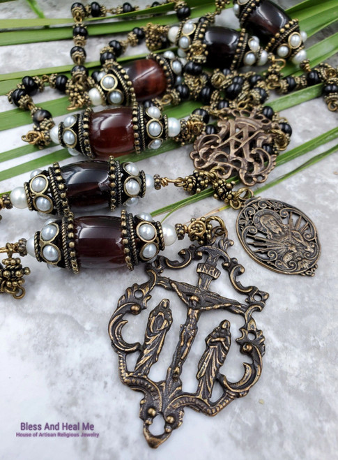 Ave Maria Sacred Heart of Jesus Black Brown Agate Bronze Antique style Heirloom Ornate Rosary Vitality Protection Success