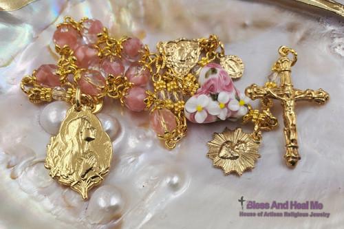 Blessed Virgin Mary Sacred Heart of Jesus Rose Czech Fire Polished Glass Flower Lampwork 22k gold pltd Vermeil Ornate Rosary Chaplet