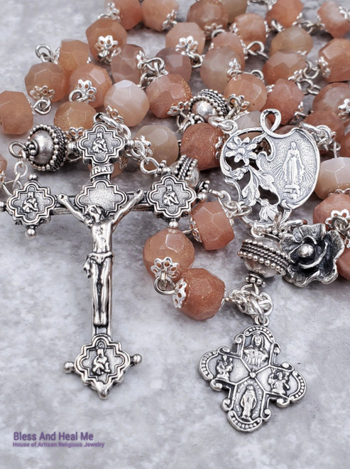 Lady of Grace Miraculous Sacred Heart St Joseph St Christopher Sterling Silver Sunstone Ornate Antique style Rosary