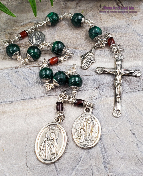 Devotional St Jude Lourdes Miraculous Mary Lord of Miracles Malachite Carnelian Sterling Silver Rosary Chaplet Healing Impossible Causes
