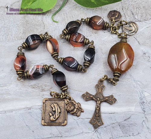 Blessed Virgin Mary Lord of Miracles Dove of Peace Bronze Gemstone 1 decade Rosary Chaplet Love Joy Hope Loyalty