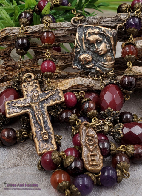 Mother Mary Baby Jesus Heirloom Antique style Bronze Multi Gemstone Rosary for Love Happiness Joy Passion Abundance Prosperity