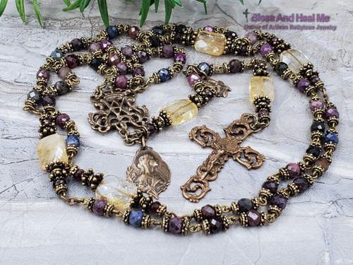 Ave Maria Virgin Mary Tourmaline Citrine Garnet Bronze Antique Style Ornate Rosary for Happiness Joy Longevity Prosperity
