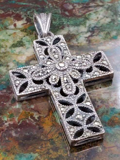 Sterling Silver Markazite Ornate Cross Necklace Pendant Medium