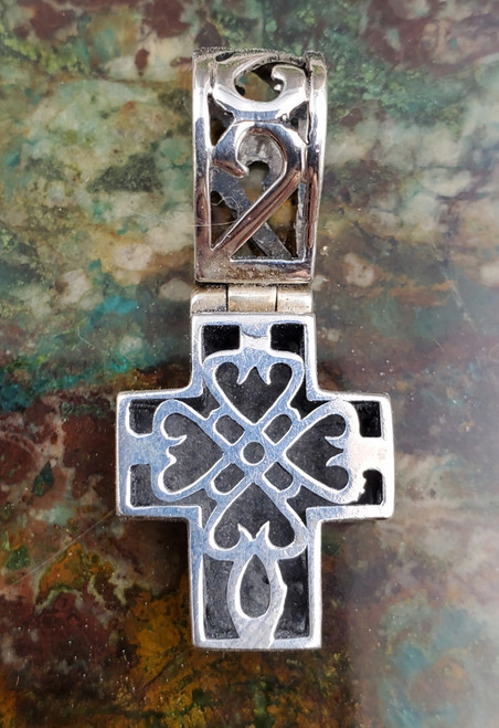 Sterling Silver Bali Style Ornate Scroll Chunky Hearts Cross Necklace Pendant Small