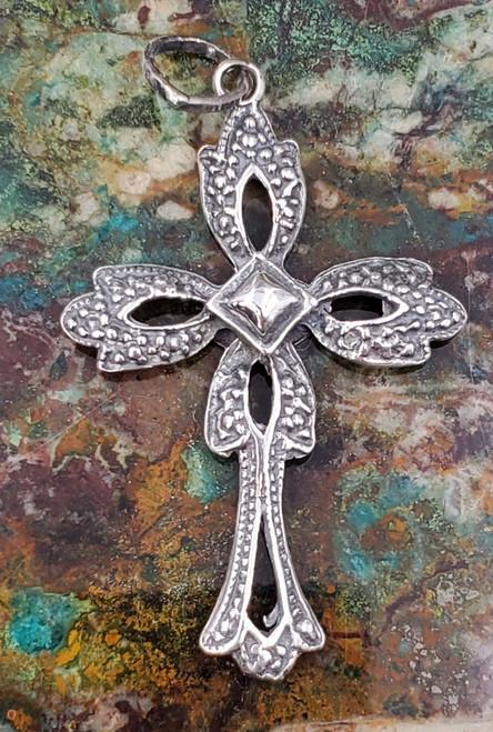 Mexico Sterling Silver Cross Necklace Pendant Medium