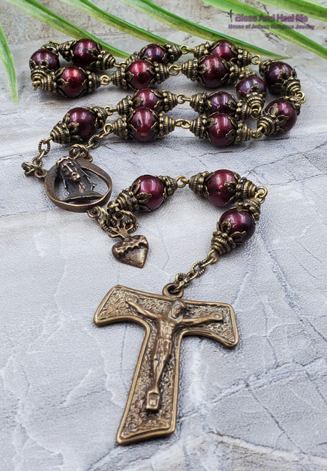 The Fifteen Secret Tortures and Suffering of Jesus Christ Devotional Red Pearl shell Bronze Antique Style Chaplet