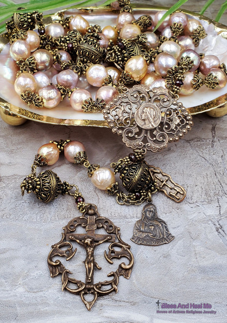 Ave Maria Immaculate Heart of Mary Baroque Keshi Pearls Garnet Bronze Ornate Heirloom Large Wall Display Rosary Joy Protection Prosperity