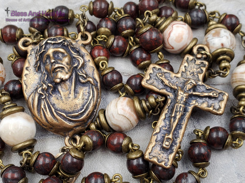 Ecce Homo Face of Jesus Lord of Miracles Red Jasper Mexican Crazy Agate Bronze Mens Rosary joy protection stress