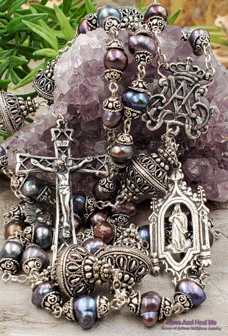 Ave Maria Virgin Mary Sacred Heart Pearls Sterling pltd Ornate Rosary Purity Joy Love Devotion Happiness