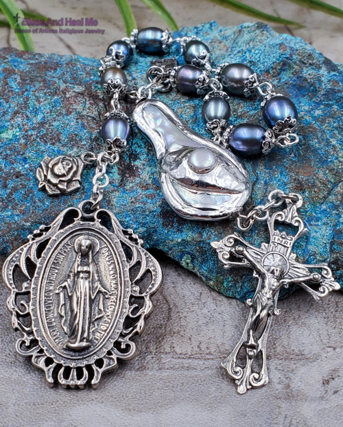 Lady of Grace Lourdes Sacred Heart Blue White Pearl Sterling Silver Ornate 1 Decade Rosary Chaplet