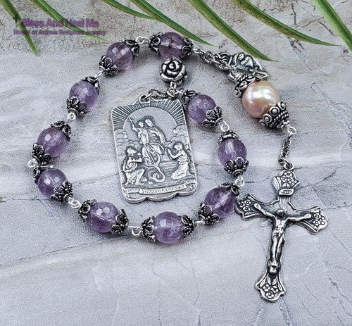 Lady of Reparation Tween Hearts of Jesus and Mary Amethyst Heshi Pearl Sterling plated Ornate Rosary Chaplet Healing Protection Joy