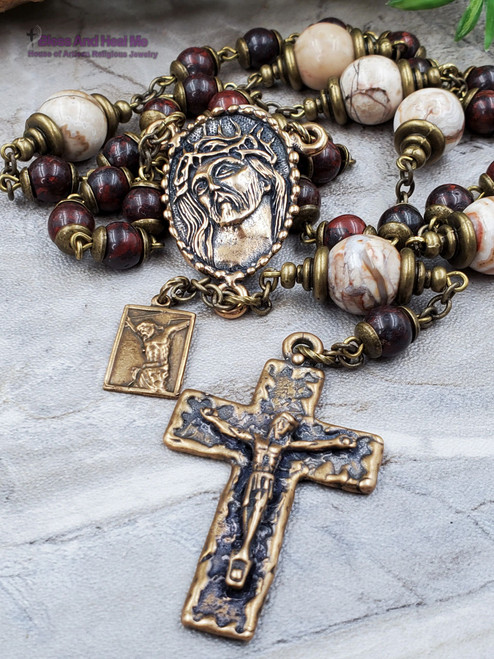Seven Wounds of Christ Devotional Red Jasper Mexican Crazy Agate Bronze Rosary Chaplet joy protection stress