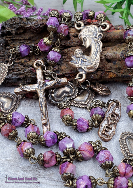 Mother Mary Baby Jesus Hearts Purple Agate Bronze Antique style Ornate Rosary Unconditional Love Happiness Balance