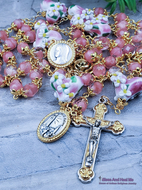 Virgin Mary of Medjugorie, Fatima Holy Soil Relic Flower Puffy Hearts Rose Pink Czech Fire Polished Beads Ornate Gold Silver Pewter Rosary